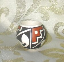 Vintage Handcraft Acoma Pueblo Miniature Decorative Pot, Signed Virginia Lowden