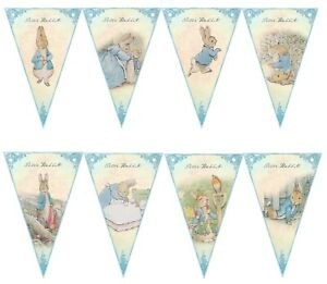 Peter Rabbit Blue Bunting,Baby Shower,Nursery Decor,Birthday Party Bunting