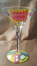 "Rare ""BIRTHDAY GIRL"" LOLITA HAND PAINTED MARTINI GLASS By SANTA BARBARA"