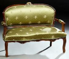 Loveseat,  French Louis XV Style, Petite, Green, Early 20th Century, Charming!!