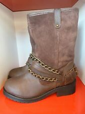LIPSY BROWN LEATHER & SUEDE CHUNKY CHAIN BOOTS .. UK 4  EU 37 ..MORE LISTED