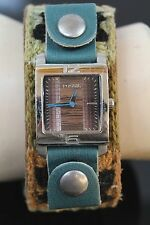 FOSSIL Womens Granny Square Over Leather Band 5ATM Stainless Steel Watch JR-9563