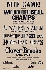 1939 HOMESTEAD GRAYS CLOVER BROOKS 8X10 POSTER  PHOTO BASEBALL PICTURE NEGRO LG