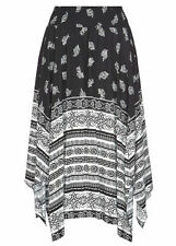 Black white Paisley beach holiday hanky hem assymetric SKIRT size 18 NEW