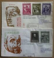FDC Venetia Vaticano 1964 - Michelangelo Buonarroti - 2 raccomandate viaggiate