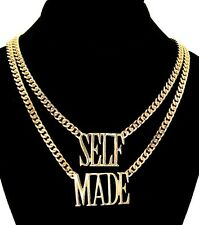 """""""SELF MADE"""" DOUBLE LINK CHAIN WORD Statement Necklace Celebrity Inspd 18"""" ~ GOLD"""