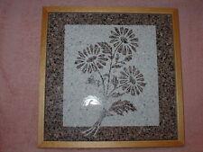 Handmade Art Sandblast wall Hanging Flowers   Gift   Stone Birch Frame