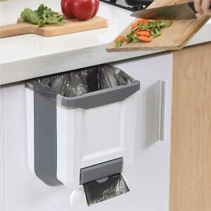 9L Folding Kitchen Waste Bin Trash Can Basket Hanging Over The Cabinet Door