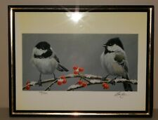 Marc Barrie L/E 28/500 CHICKADEES on Berry Branch in Snow, pencil S+N 8 1/2 x 11