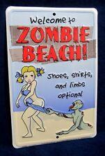 ZOMBIE BEACH *US MADE* Embossed Metal Sign -Pool Yard Man Cave Garage Bar Rec Rm
