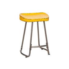 Artisan Yellow Stool Square Seat Metal Industrial Bar Breakfast Kitchen Chair