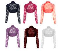 Womens Cropped Lace Shrug Ladies Bolero Plus Size Cardigan Top Size 8-14