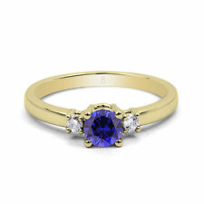 Engagement Sapphire Round Yellow Gold Fine Rings