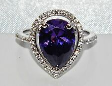 Sterling Silver (925) 5.00ct Amethyst Large Cluster Cocktail Ring size O