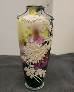 Nippon Vintage Hand Painted Vase with Embossed  Chrysanthemums
