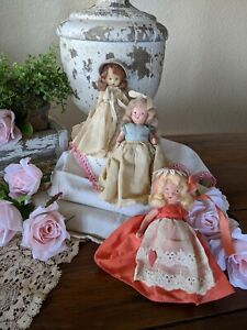 Vintage Set Of Three Nancy Ann Storybook Dolls