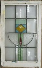 """LARGE OLD ENGLISH LEADED STAINED GLASS WINDOW Nice Geometric 20.5"""" x 33.5"""""""