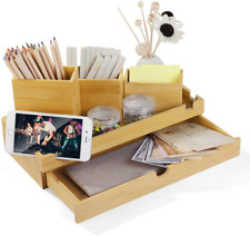 More details for bamboo desktop organiser stationery storage supply box caddy with drawer 3...