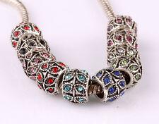 10pcs mix LAMPWORK CZ big hole spacer beads fit Charm European Bracelet #A592