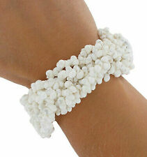Bracelet White Tiny Shells Cluster Drawstring Beaded Handmade Nantucket Surfer