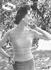 "Vintage Ladies Knitting Pattern, 2 ply summer top 32 -36"", W&G 1038, 1950s"