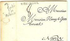 LETTRE DE MULHOUSE 3-3-1766 PAR MESSAGER. MP HUNINGUE lenain n° 4 VOIR DESCRIP