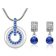 Royal Blue Jewellery Set Rhienstones Cluster Round Wheel Earrings Necklace S580