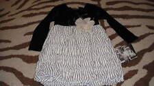 NWT NEW CACHCACH CACH CACH 6 BLACK WHITE DRESS W/ FLOWER TWINS TRIPLETS