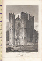 1807 Antiguo Pequeño Georgiano Estampado De ~ Lees Priory ~