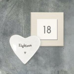 Mini 18th Birthday Porcelain Heart Trinket Dish - 18th Gift - East Of India