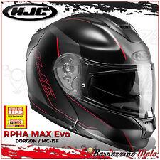 MOTORRAD KLAPPHELM HJC RPHA MAX EVO DORGON MC1SF SCHWARZ/GRAU/MATT ROT GR. M