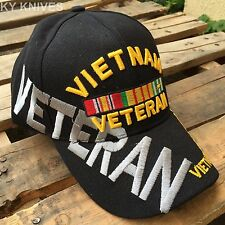 Large Letters VIETNAM VETERAN With Emblem CAP HAT ALL BLACK HT-505 -SA