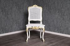 Chaise baroque antique massif or blanc rotin style Chippendale Art vintage