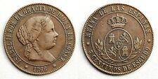 ISABEL II. 5 centimos de Escudo. 1866. Barcelona. Sin OM. MBC+/VF+. Escasa