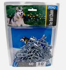 PDQ Boss Pet 10' DOG TIE OUT CHAIN Silver Steel Snap LARGE Size 60 lbs 43710 NEW