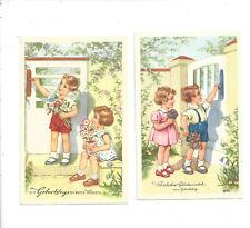 alte AK Postkarte  Kinder gratulieren zum  Geburtstag 2 Karten