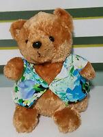 RUSS BERRIE PLUSH TOY SOFT TOY MAKAI HAWAIIAN SHIRT TEDDY BEAR 21CM SEATED!