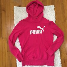 PUMA Hoodie Embroidered Logo Women's Size Medium Pink With White Logo