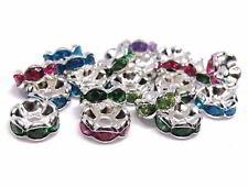 20 Strass Rondelle, 8 mm, bunte Mischung, Perlen basteln und Schmuck herstellen