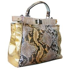 ECHT LEDER Tasche ital XL Handtasche Weiß Bunt Foto Motive GL300WM