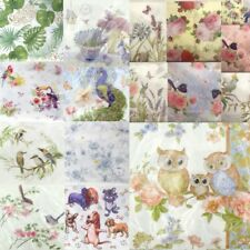 NEW 20x Printed Napkin 3ply Paper Napkin Serviettes Dining Tableware Flower Bird