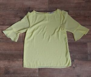 Oasis Size 8 Yellow 3/4 Fluted Sleeve Keyhole Blouse Top