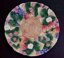 "1991 Fitz & Floyd Dimensional Berry Design Porcelain Plate 10"" In Diameter."
