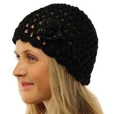 Ladies Winter Handknit Crochet Flower Knit Beanie Skull Ski Snow Hat Cap Black