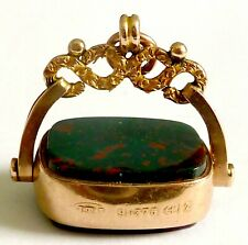 Watch Fob With Bloodstone & Carnelian Victorian 1899 9Ct Rose/Yellow Gold Swivel