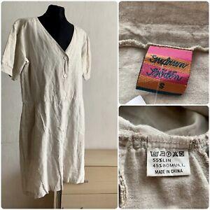 GUDRUN SJODEN vtg dress short sleeve  coton linen size S