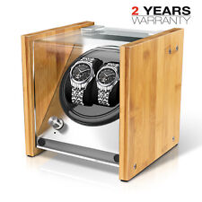 Natural Feel Bamboo Crystal Automatic Rotation Double Watch Winder