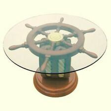 Maritime Table Side Table Der Special Art- Wood And Glass Ø 65 CM