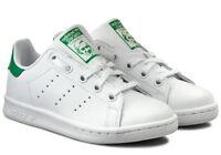 ADIDAS STAN SMITH C scarpe bambino bambina sportive sneakers pelle bianche lacci
