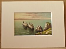 THE NEEDLES ISLE OF WIGHT SUPERB QUALITY ANTIQUE MOUNTED CHROMO 1889 VERY RARE
